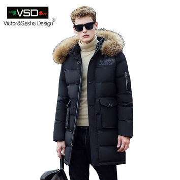 New Long Winter Down Jacket With Fur Hood Men's Clothing Fashion Jackets Thickening Parka Male Big Coat