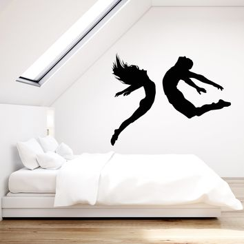 Vinyl Wall Decal Jumping Woman And Man Sports Fitness Gym Stickers (2490ig)