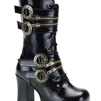 Pleaser Female 3 3/4 Inch Heel, Platform Steampunk Calf Boot With Gear Buckles GOT100