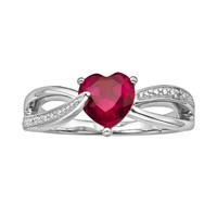 Sterling Silver Lab-Created Ruby & Diamond Accent Heart Bypass Ring (Stone/Ruby/Silver)