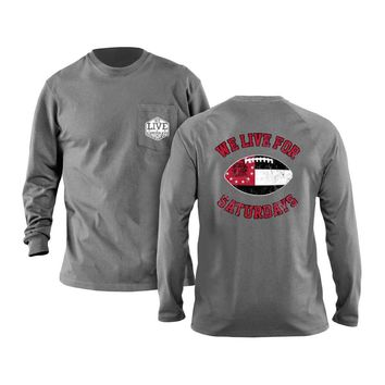 Athens Football Long Sleeve Tee in Granite by We Live For Saturdays