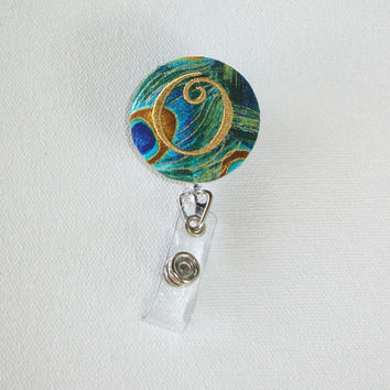 Retractable ID Badge Holder Reel  - Fabric Button - custom Peacock Plume with Gold monogram