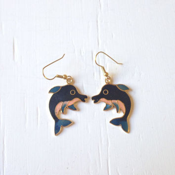 10% OFF SALE Vintage Cloisonne Dolphin Earrings