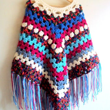 Chunky Knit Poncho Groovy Granny Poncho Criochet Afghan Poncho Fringed Long Big Poncho Women Winter Fashion Accessories Sweaters Gift Ideas