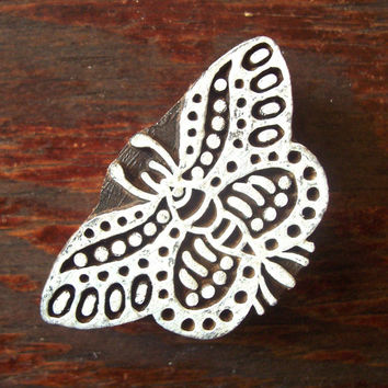 Butterfly Hand Carved Wood Stamp Animal Indian Print Block (AN42)