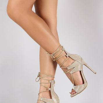 Shoe Republic LA Metallic Corset Lace Up Peep Toe Heel