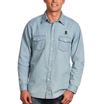 Michigan State Spartans Antigua Chambray Button-Up Long Sleeve Shirt – Light Blue