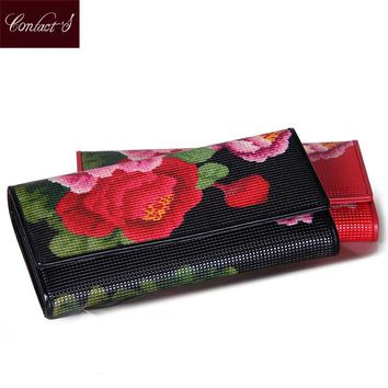 Contact's 2017 NEW Women's Wallet Genuine Leather Floral Print Long Ladies Purses Fashion Black Red Clutch Wallets Card Holder