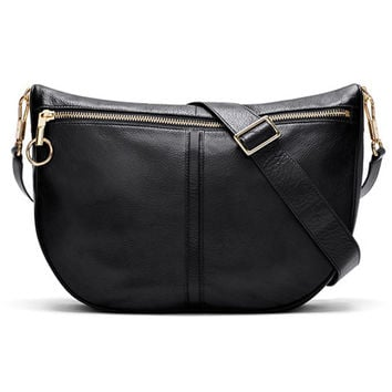 Elizabeth and James Black Leather Scott Moon Shoulder Bag