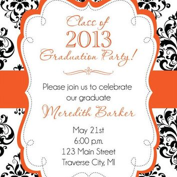 Damask Graduation Party Invitations