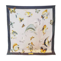 Salvatore Ferragamo Butterfly and Fish Scarf