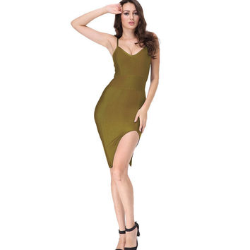 Sleek Split Mini Green Bandage Dress
