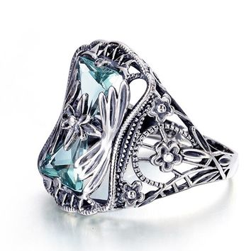 Anell Petals Blue Aquamarine 925 Sterling Silver Rings