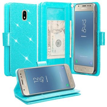 Samsung Galaxy J3 (2018) , Express Prime 3 , SM-J337A Case, [Wrist Strap] Glitter Faux Leather Flip [Kickstand Feature] Protective Wallet Case Cover Clutch - Teal