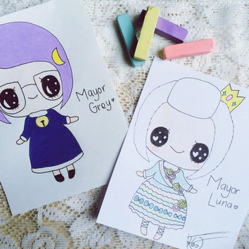 Hand-Drawn Custom Chibi (Portrait or Character) (Animal Crossing Mayor Portrait)