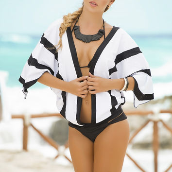 Lucky Stripes Beach Cover-Up