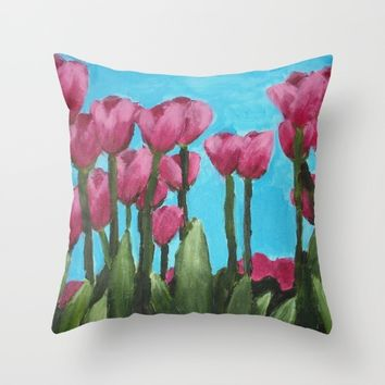 Field of Tulips Throw Pillow by Lindsay