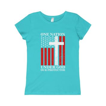 One Nation Under God Our Protector - Girls Tee