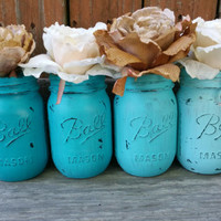 Painted mason jars, turquoise ombre