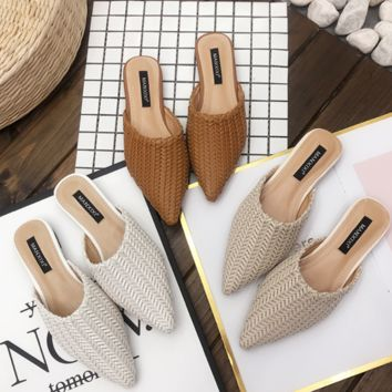 New style women's shoe braids hemp flower flat bottom soft sole bao tou to drag half