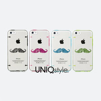 Moustache style - iPhone 5C case iPhone 5 / 5S case, half-transparent cover case, moustache design bumper hard plastic case pc tpu case, C37