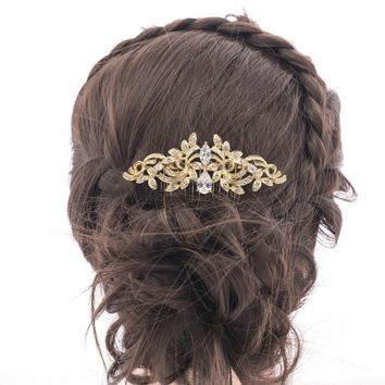 Vintage Style Bridal Hairpins Rhinestone Crystal CZ  Flower Hair Comb Hairpins Side Combs for Women Wedding Accessories CO4012R