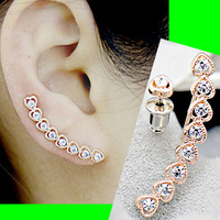 Stringed Hearts Long Clip Ear Pin Asymmetric Set (2 Pieces)
