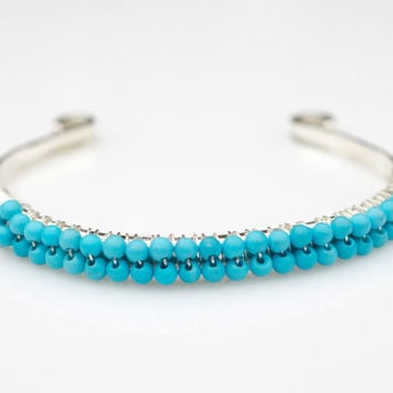 Sterling Silver and Turquoise Bangle Bracelet, Sterling Silver Cuff Bracelet, Turquoise Bangle Bracelet