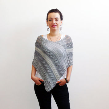 Hand knit poncho, Silk and Cotton poncho, knit sweater poncho women knit wear poncho sweater chunky cropped sweater, cover-up top knit shawl