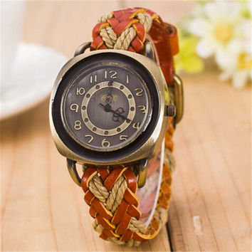Womens Unique Nostalgia Handmade Leather Strap Watch Best Christmas Gift  Watch-425