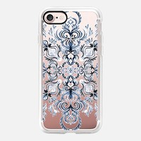 Indigo- Navy Blue and White Calligraphy Doodle Pattern on transparent iPhone 7 Case by Micklyn Le Feuvre | Casetify