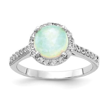 Cheryl M Sterling Silver Round Lab Created White Opal and CZ Halo Ring