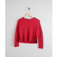 red cropped sweater / silk sweater / woven sweater