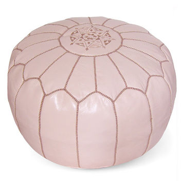 Papaya Moroccan Pouf Round Genuine Leather