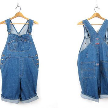 Blue Jean Bib Shorts Vintage Bib Overalls Shorts Carpenter Pants Women's Indie Girl Street Style Size Medium