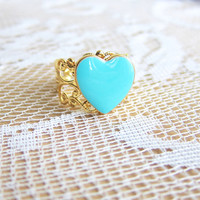 Turquoise Heart Ring Blue Gold Ring Tiffany Aqua Bridesmaid Gift Sisters Maid of Honor Friendship Ring Thank You I Love You Ring