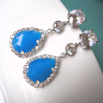 Blue Bridal Earrings , Bridal Drop Earrings , CZ Earrings , Cubic Zirconia, Wedding Earrings, Teardrop, Halo, Rhinestone, Bridal Jewelry