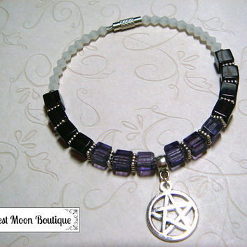 Wiccan Bracelet, Pagan Jewelry, Purple Crystals, Pentacle, Pentagram, Wiccan Jewelry, Pagan Bracelet, Spiritual, Metaphysical, Gift for Her