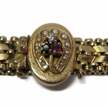 Antique Vintage 14K Yellow Gold Horseshoe Seed Pearl Bracelet