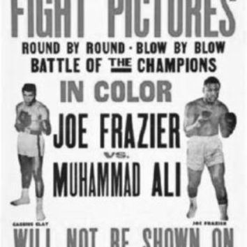 Joe Frazier Muhammad Ali Fight poster Metal Sign Wall Art 8in x 12in Black and White