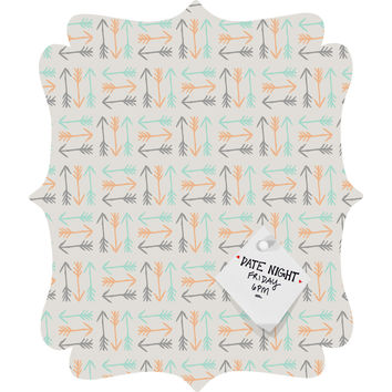 Allyson Johnson Peachy Arrows Pattern Quatrefoil Magnet Board