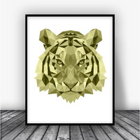 Tiger, Lime Art Print Poster