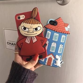 Fashion Japan 3D Cartoon Moomin and Little My Soft silicon case For iphone 7 Case For iphone 6 6S 7Plus Phone Case Free Shipping