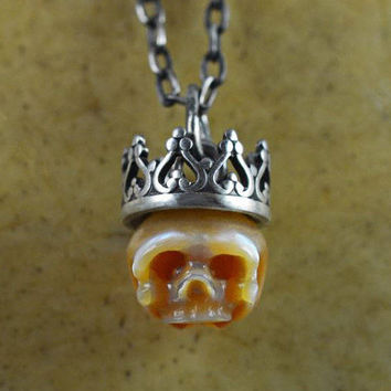 Hand Carved Orangle Pearl Skull Wearing Sterling Silver Crown Necklace - Skull Jewelry - Skull Pendant - Pearl Necklace - Hand Carved Pearl