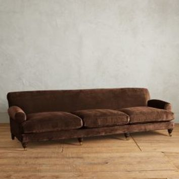 Slub Velvet Willoughby Grand Sofa, Hickory by Anthropologie