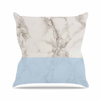 """Suzanne Carter """"Marble And Blue Block"""" Modern Gray Outdoor Throw Pillow"""