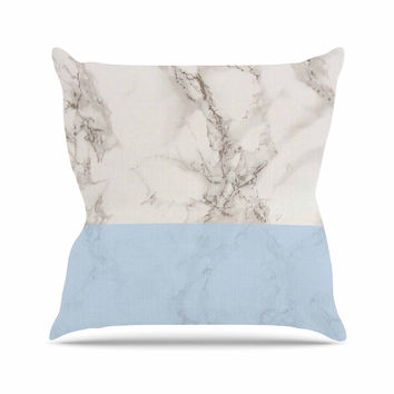 "Suzanne Carter ""Marble And Blue Block"" Modern Gray Outdoor Throw Pillow"