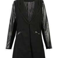 Black Stand Collar PU Panel Long Sleeve Coat