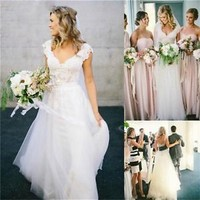 Sexy V Neck Beach Bridal Gown 2015 White/Ivory Women Lace Garden Wedding Dress