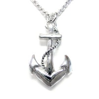 Detailed Nautical Anchor Necklace